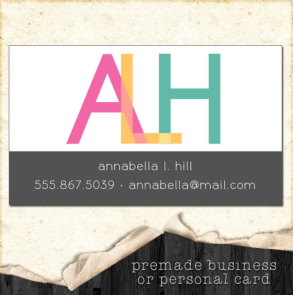 premade personal business card example