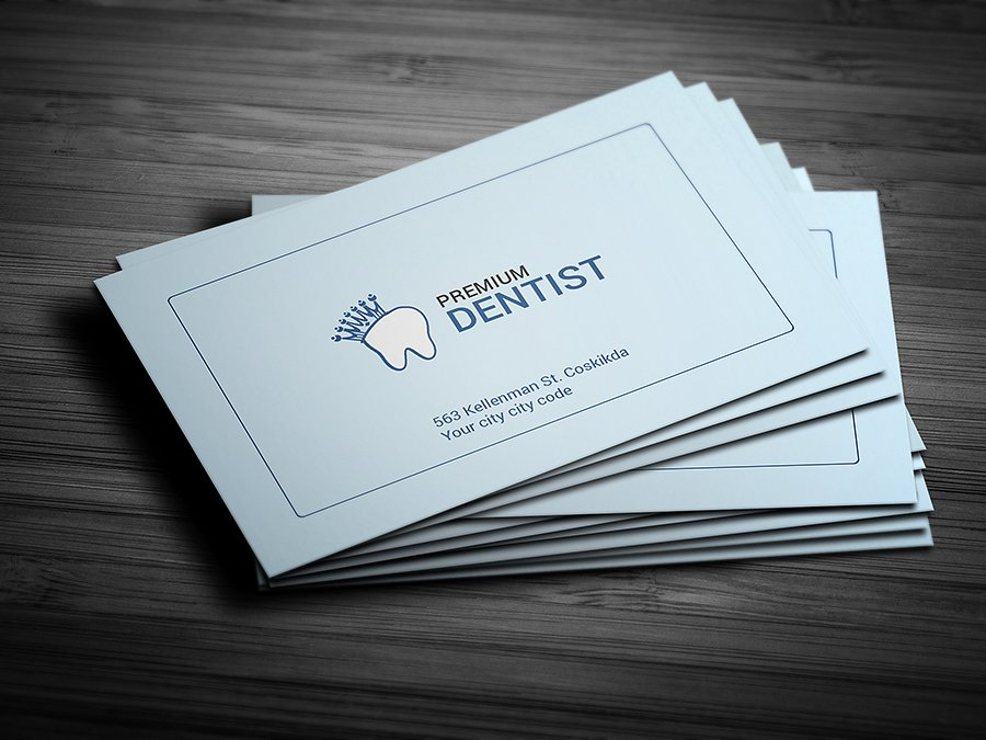 premium dentist business card example