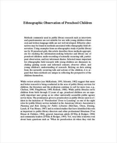 Preschool observation essay