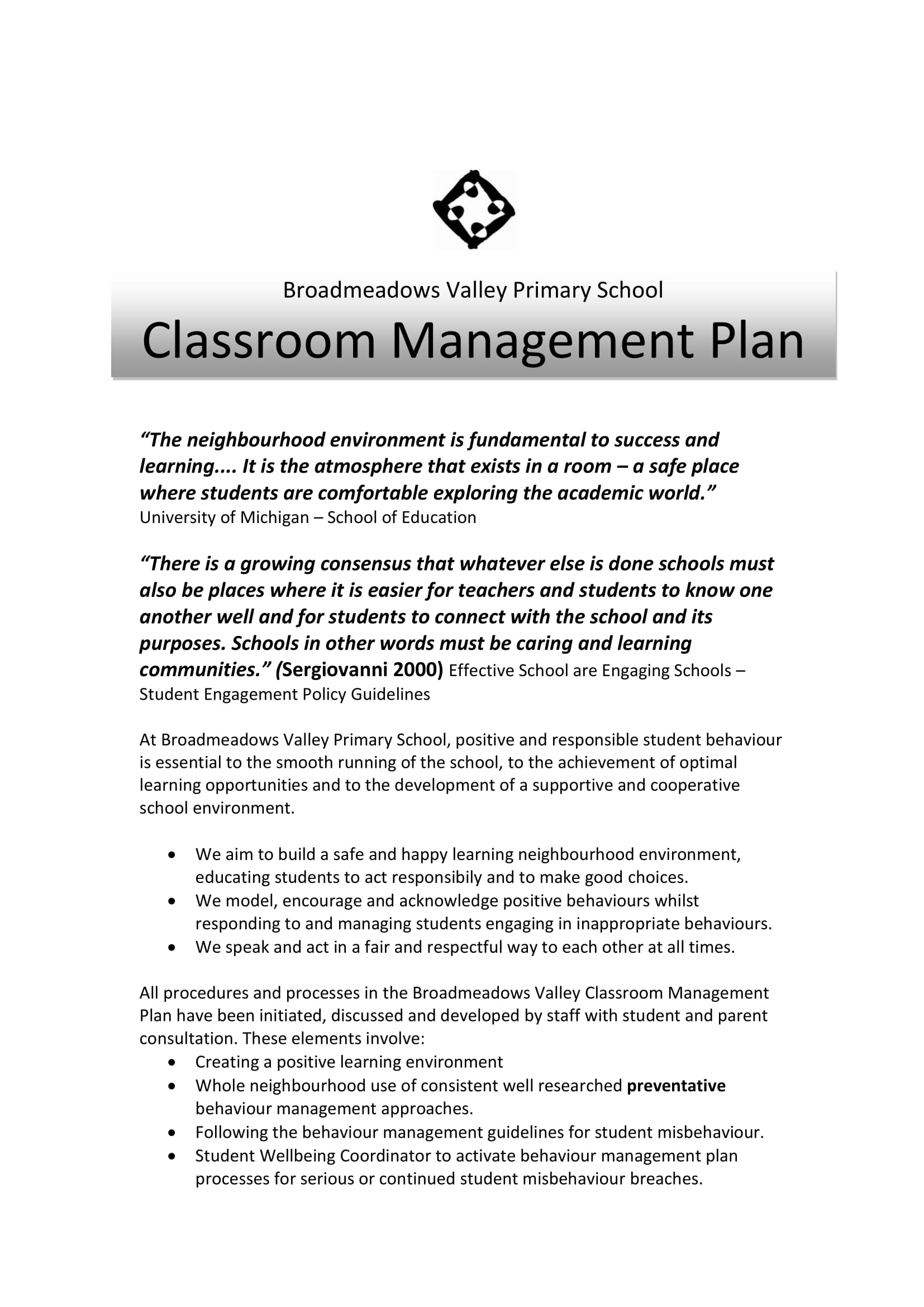 9  effective classroom management plan examples