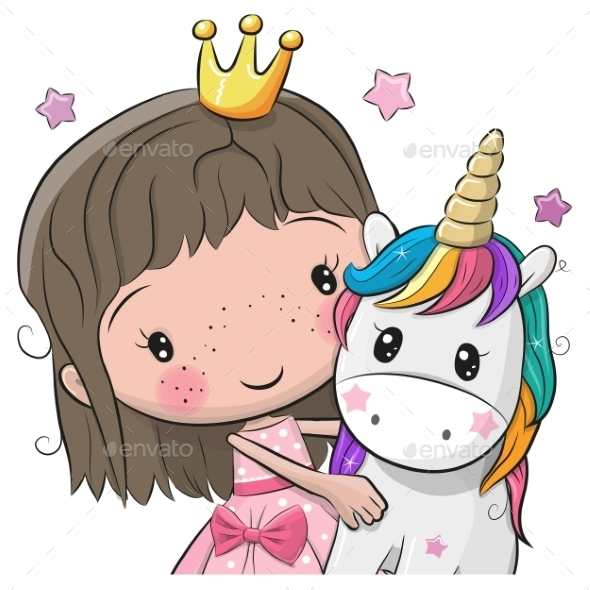 princess and unicorn baby greeting card example