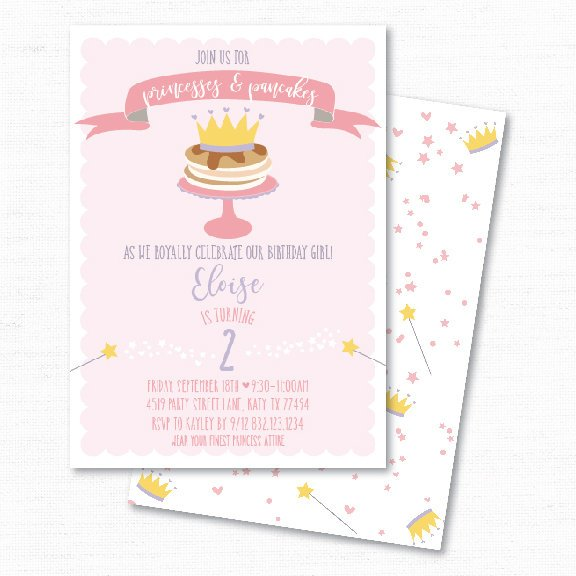 princesses pancakes breakfast birthday invitation example