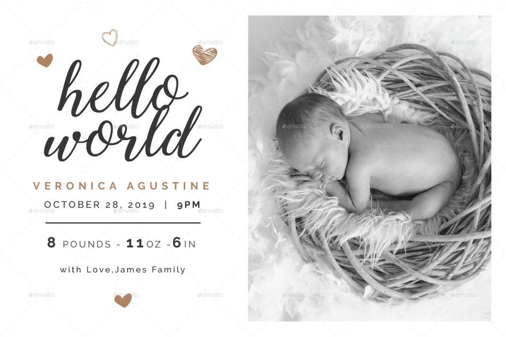 printable baby announcement card example