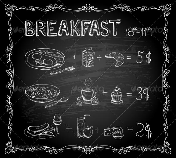 printable breakfast chalkboard menu example