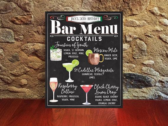 printable chalkboard bar menu example