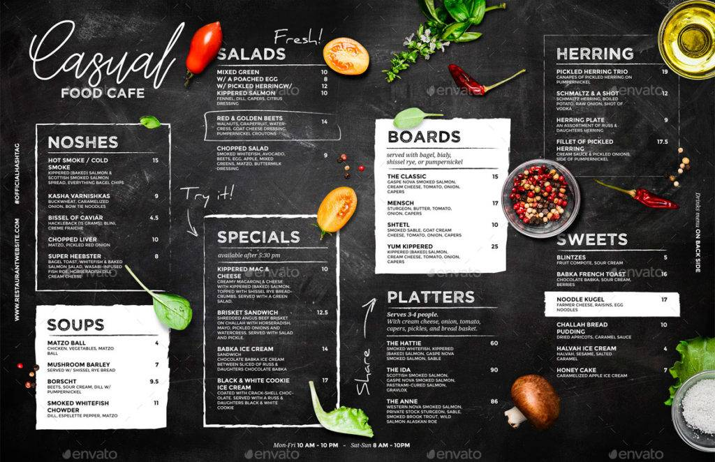 printable chalkboard cafe menu example 1024x662