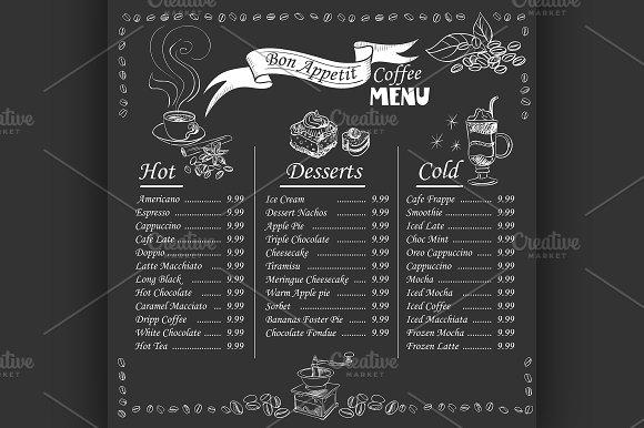 printable coffee menu on chalkboard example