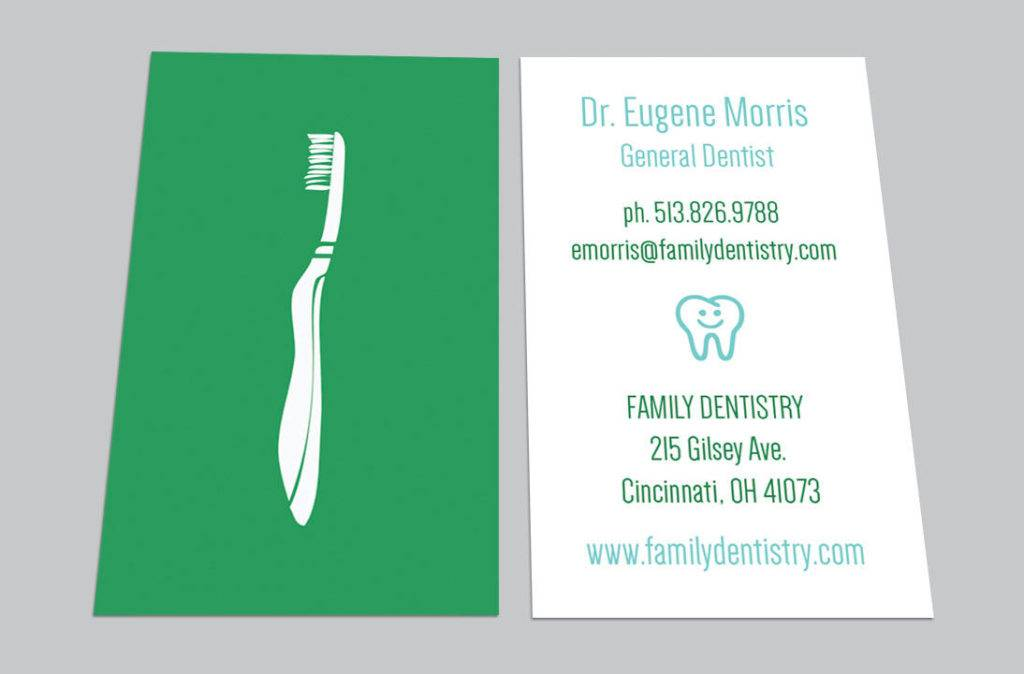 printable dentist dental business card example