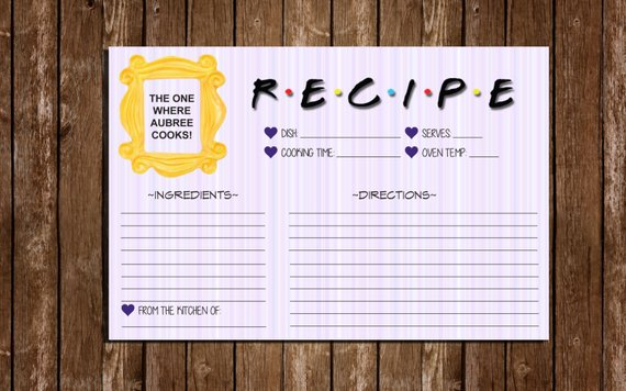 printable friends recipe index cards