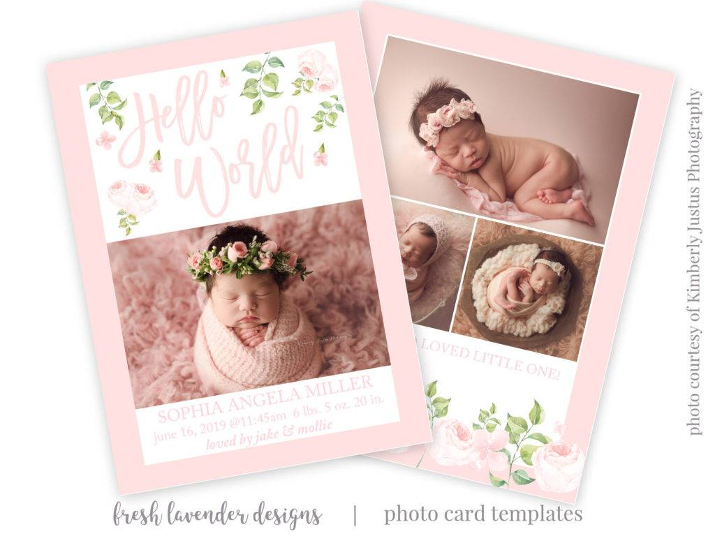 printable floral baby announcement template example