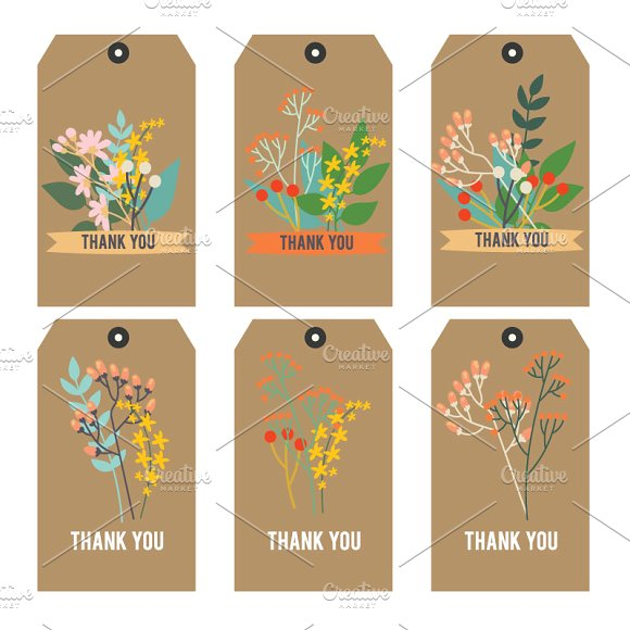printable floral thank you tag