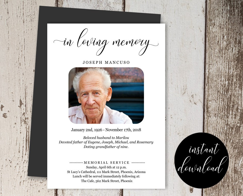 printable funeral announcement template