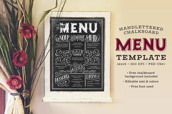 printable handlettered chalkbaord menu example