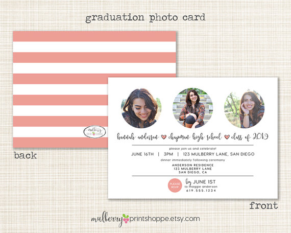 printable photo graduation postcard example