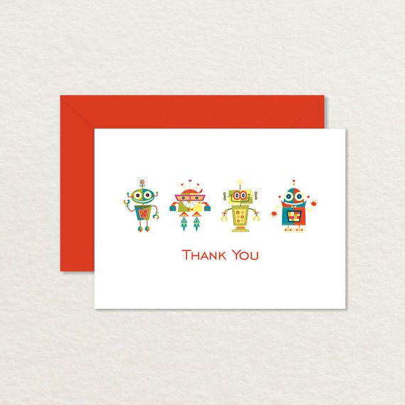 printable robot thank you card example