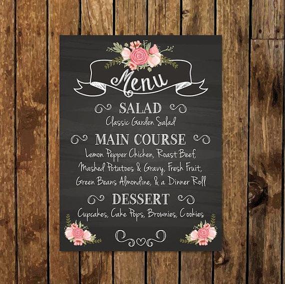 printable rustic chalkboard menu example