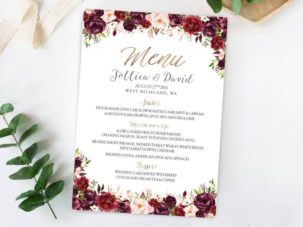 printable wedding event menu example 1024x768