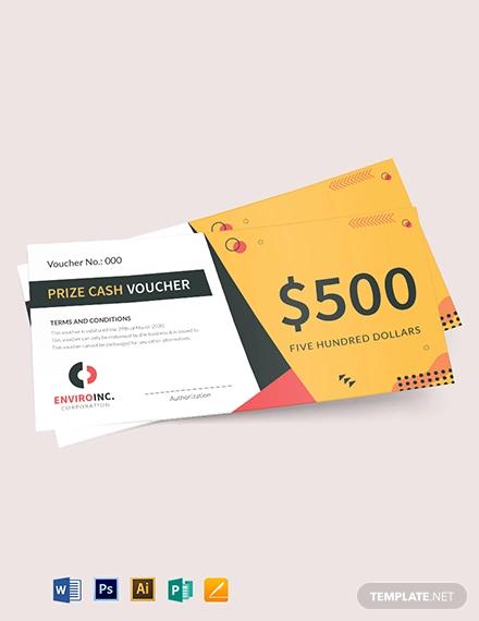 prize cash voucher template