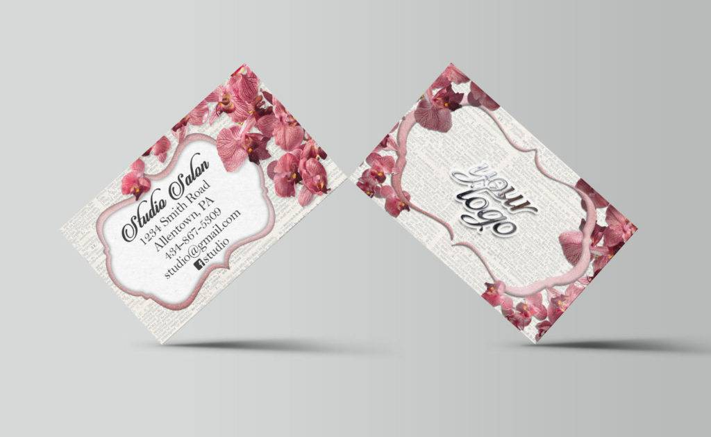 professional salon flower business card example