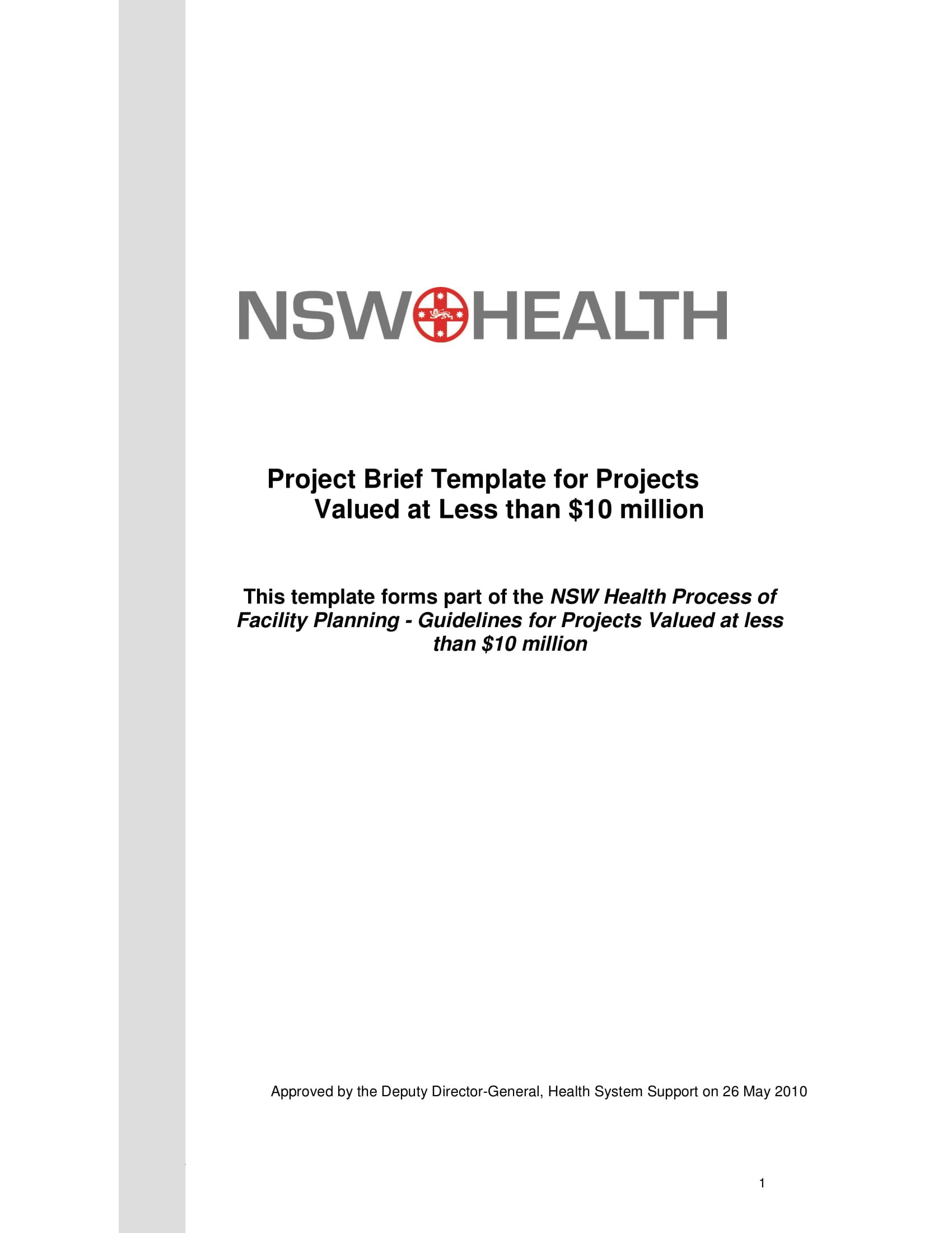 project brief for projects valued at less than 10 million example