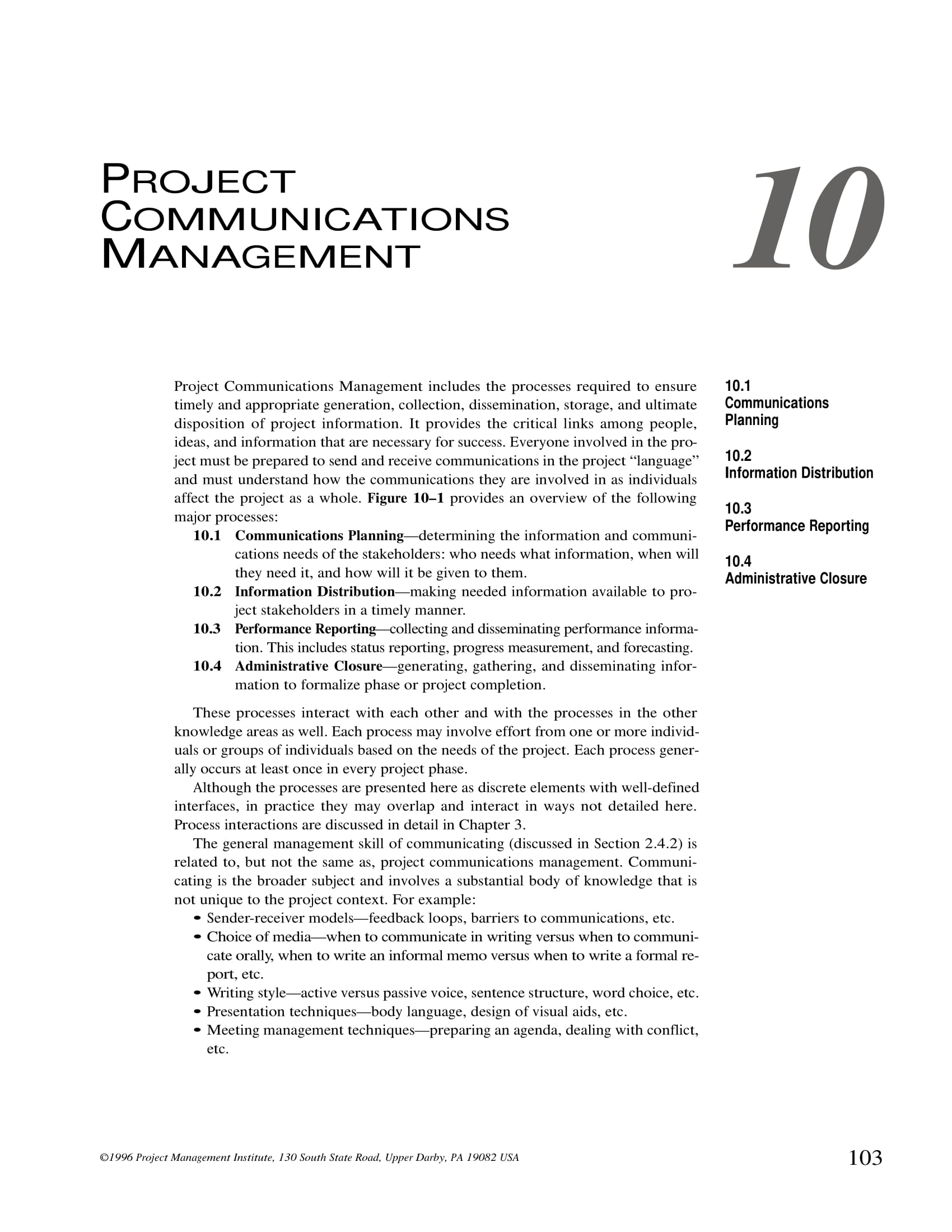 project communication management plan example