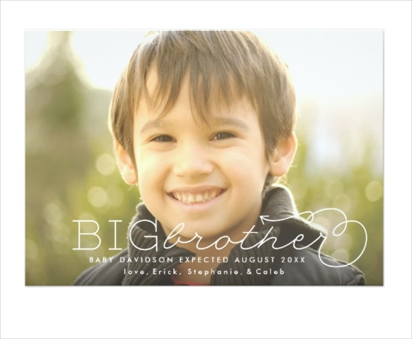 promoted big brother photo pregnancy announcement design