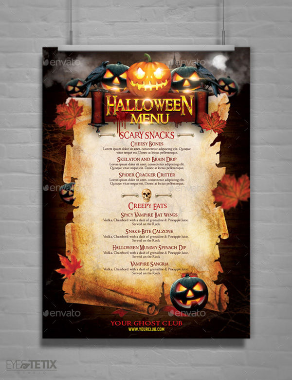 pumpkin halloween party menu example