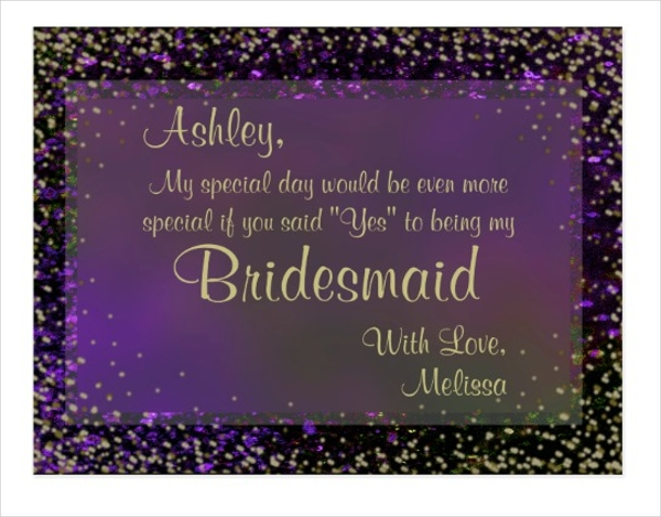 purple be my bridesmaid postcard example
