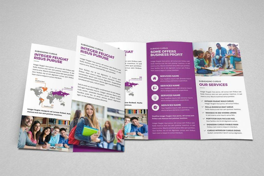purple trifold workshop brochure example