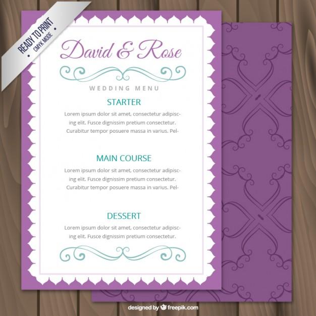 purple wedding menu example
