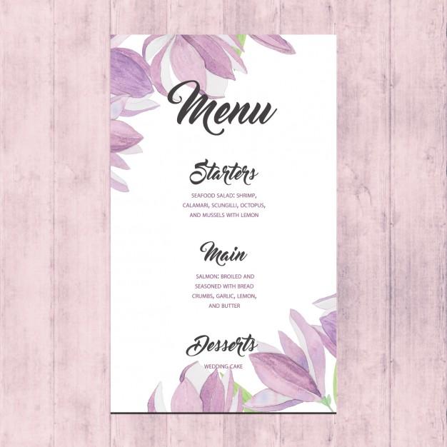quaint flowers wedding menu card example