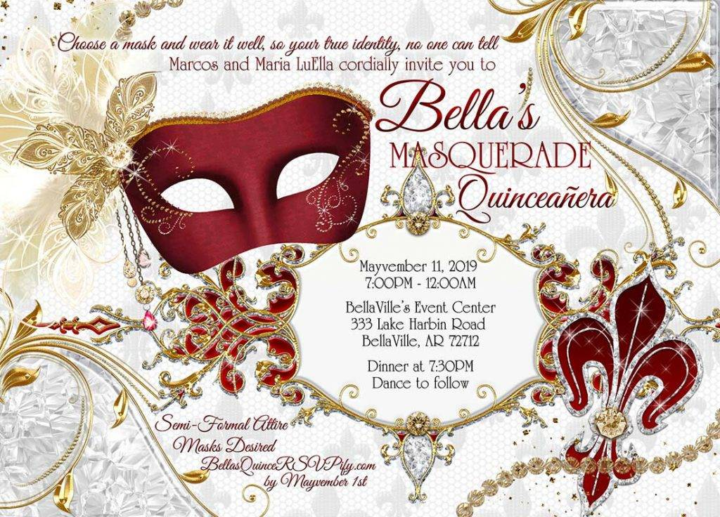 Quinceanera Masquerade Birthday Invitation