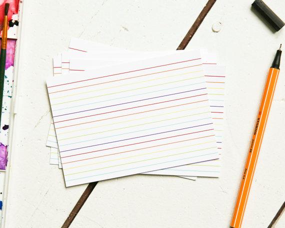 rainbow index cards example