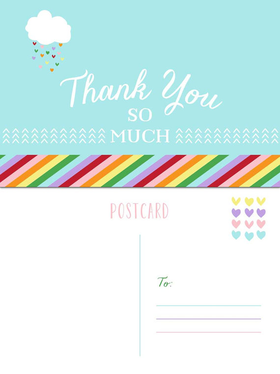 rainbow thank you postcard example