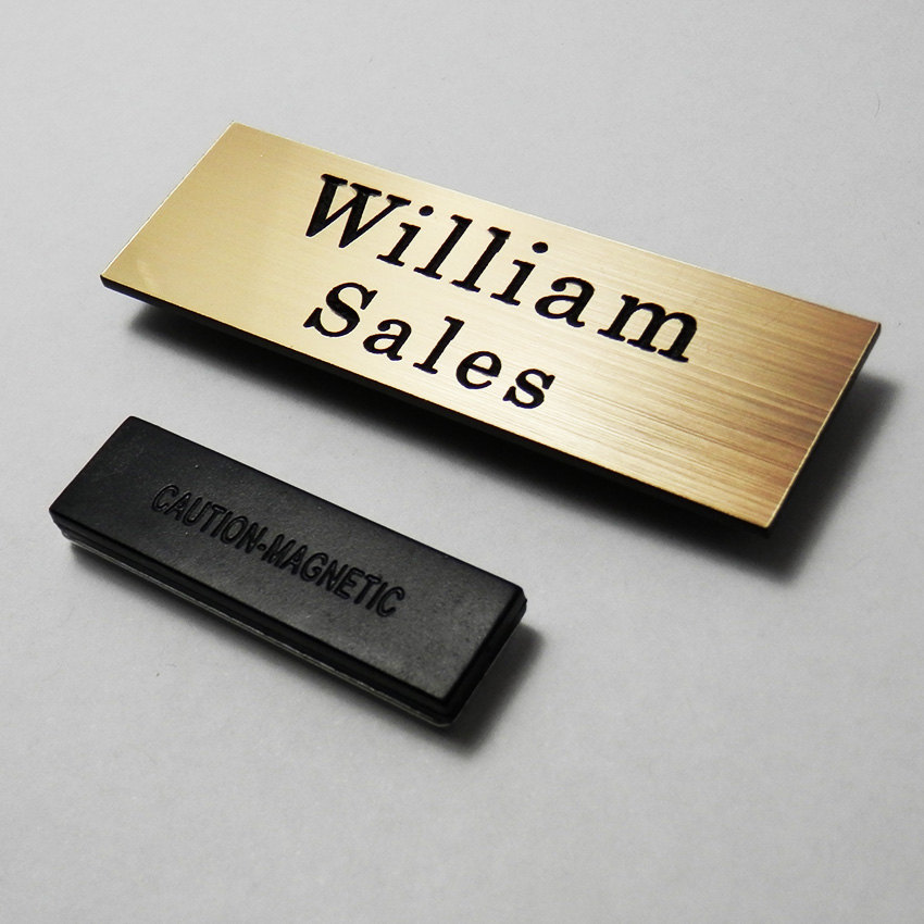 rectangle metallic staff name tag example