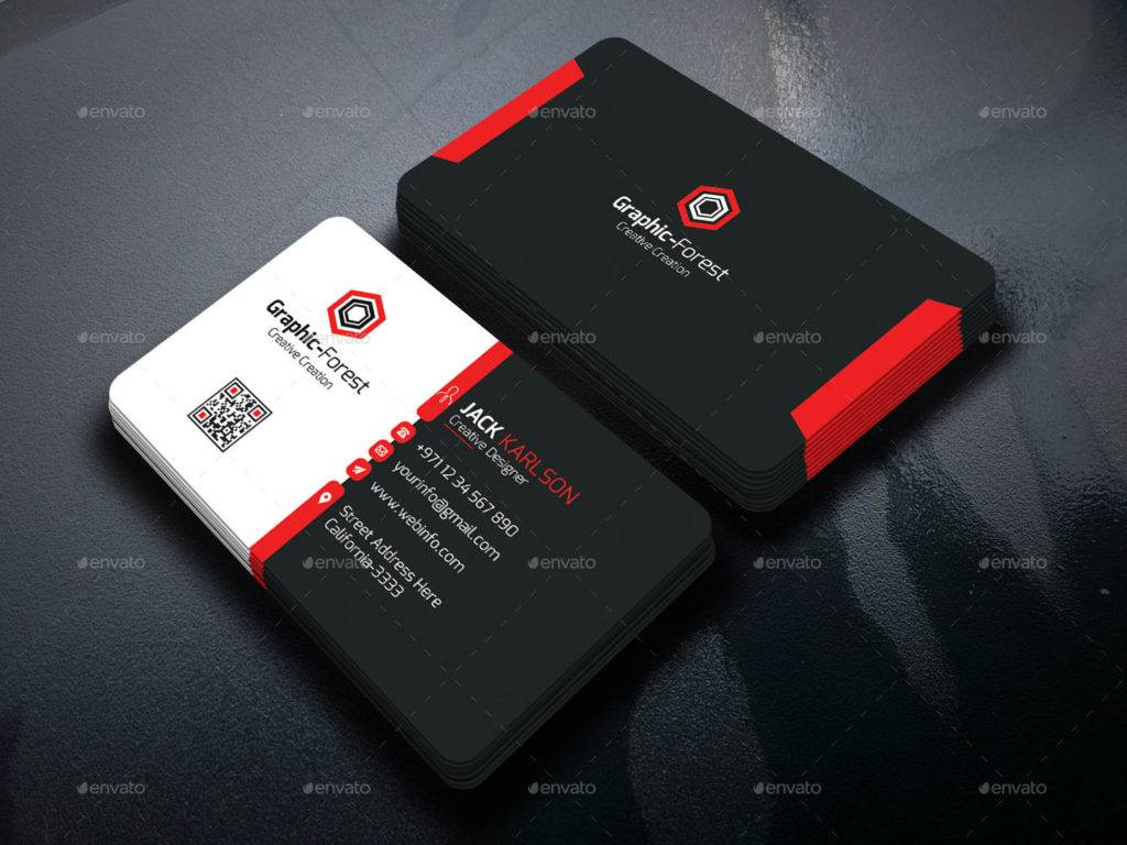 red black clean business card example