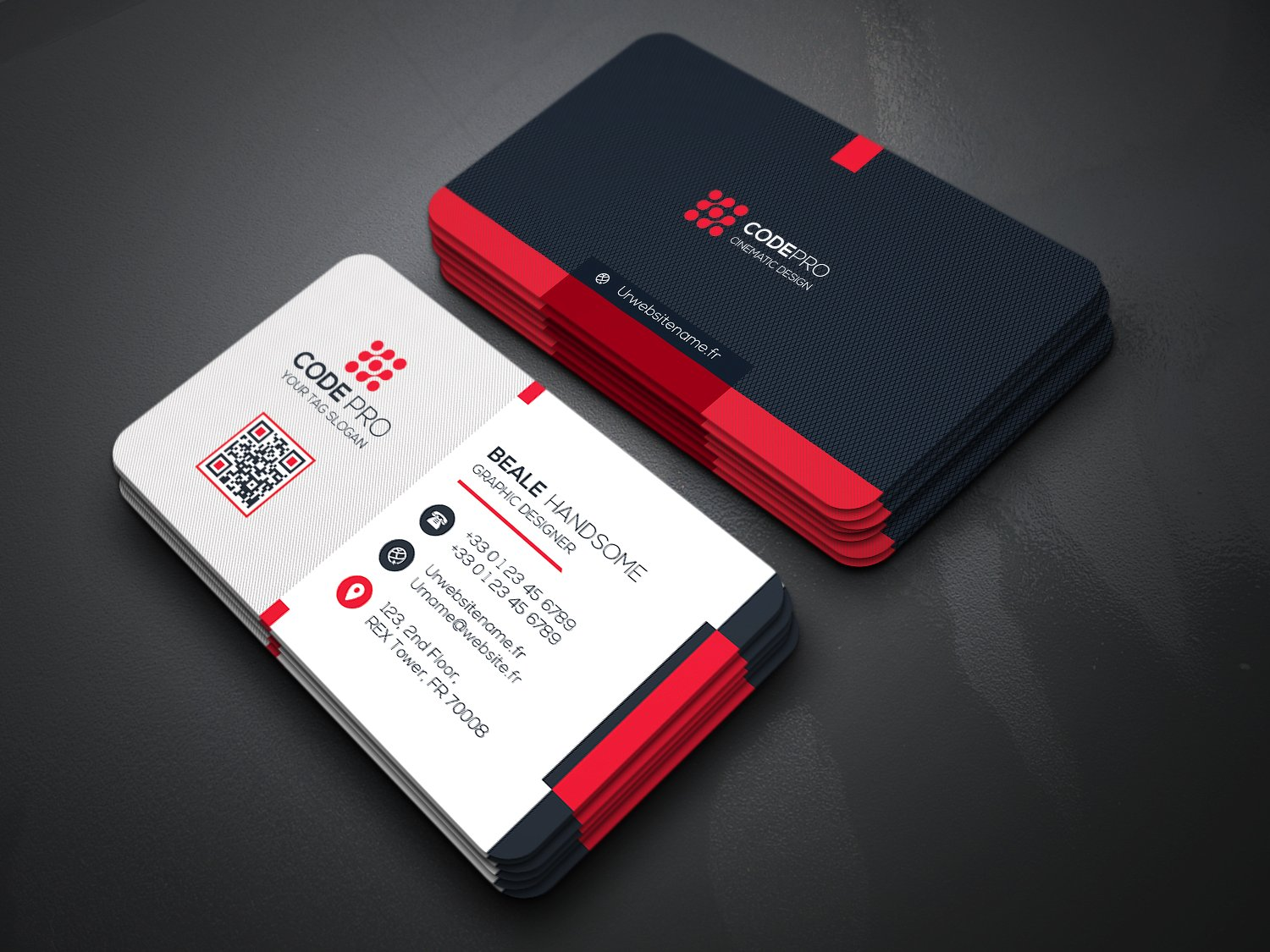 red black minimalist business card example