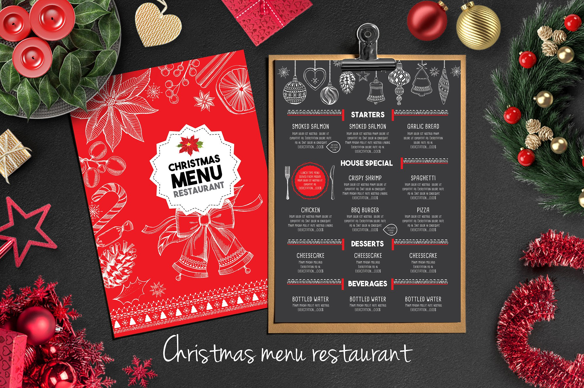 red chalkboard christmas menu example