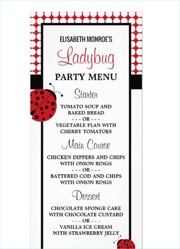 red ladybug childrens birthday party menu