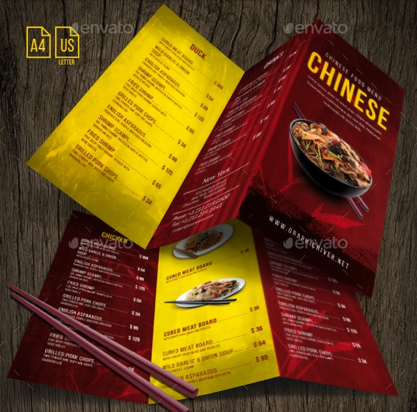 red yellow chinese menu example