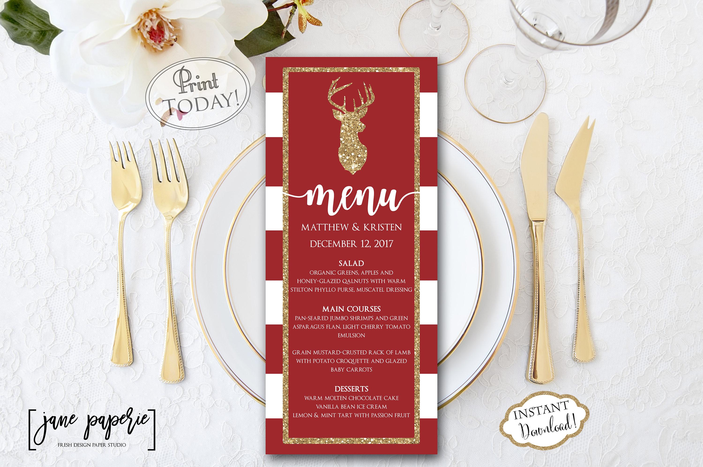 reindeer gold holiday menu example