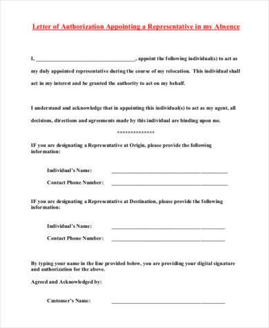 representative authorization letter