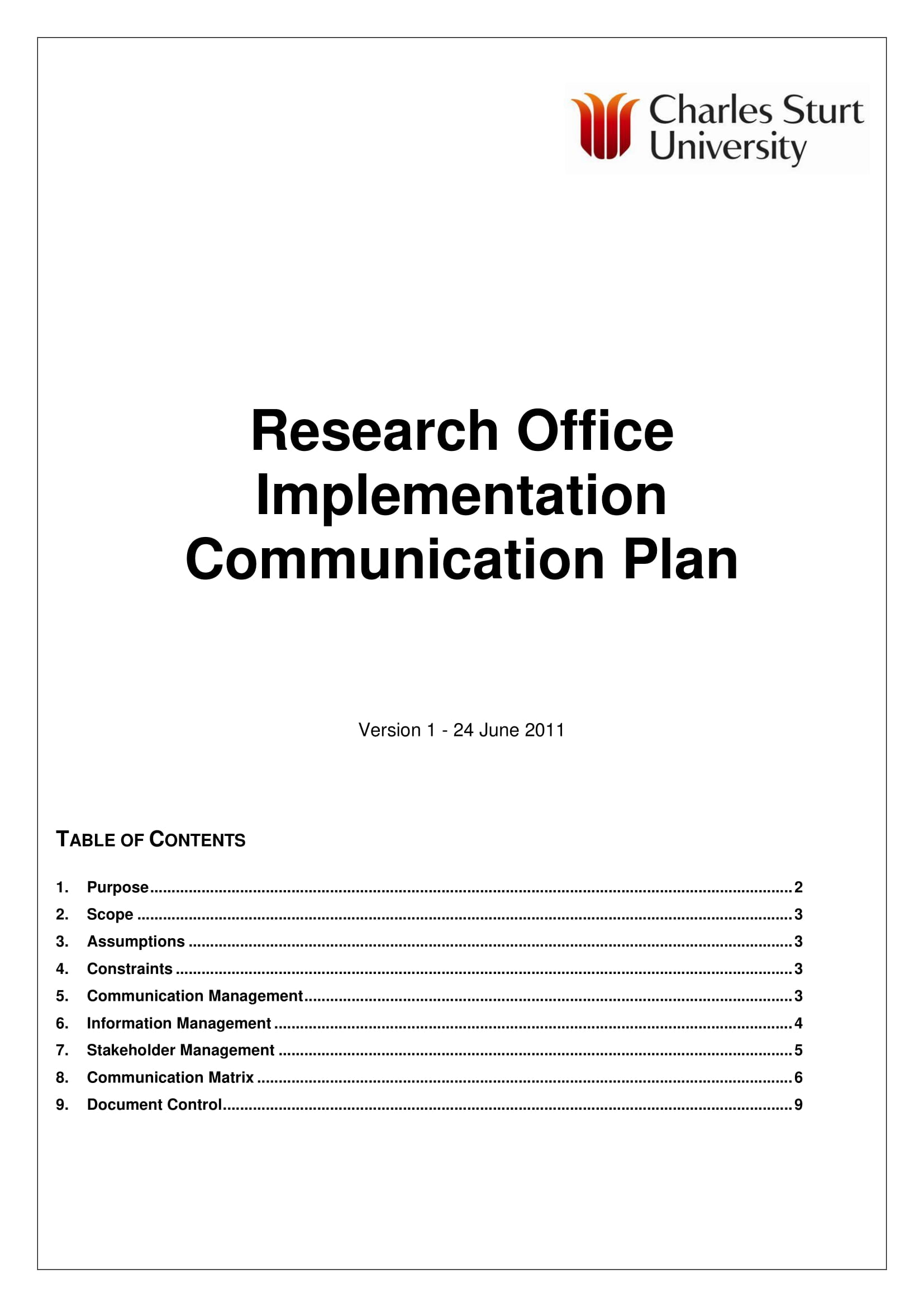 research office implementation communication plan example