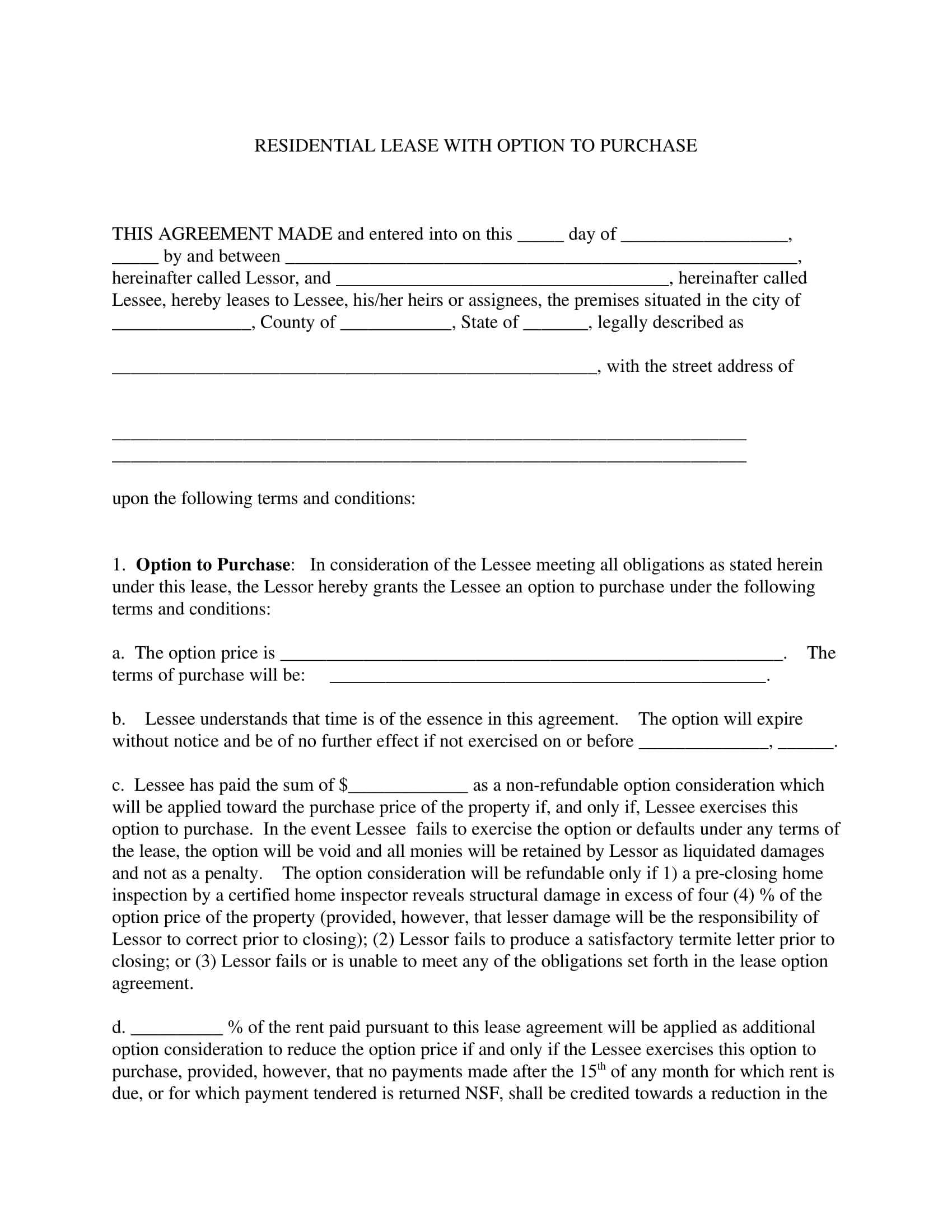 residential lease with option to purchase purchase agreement example