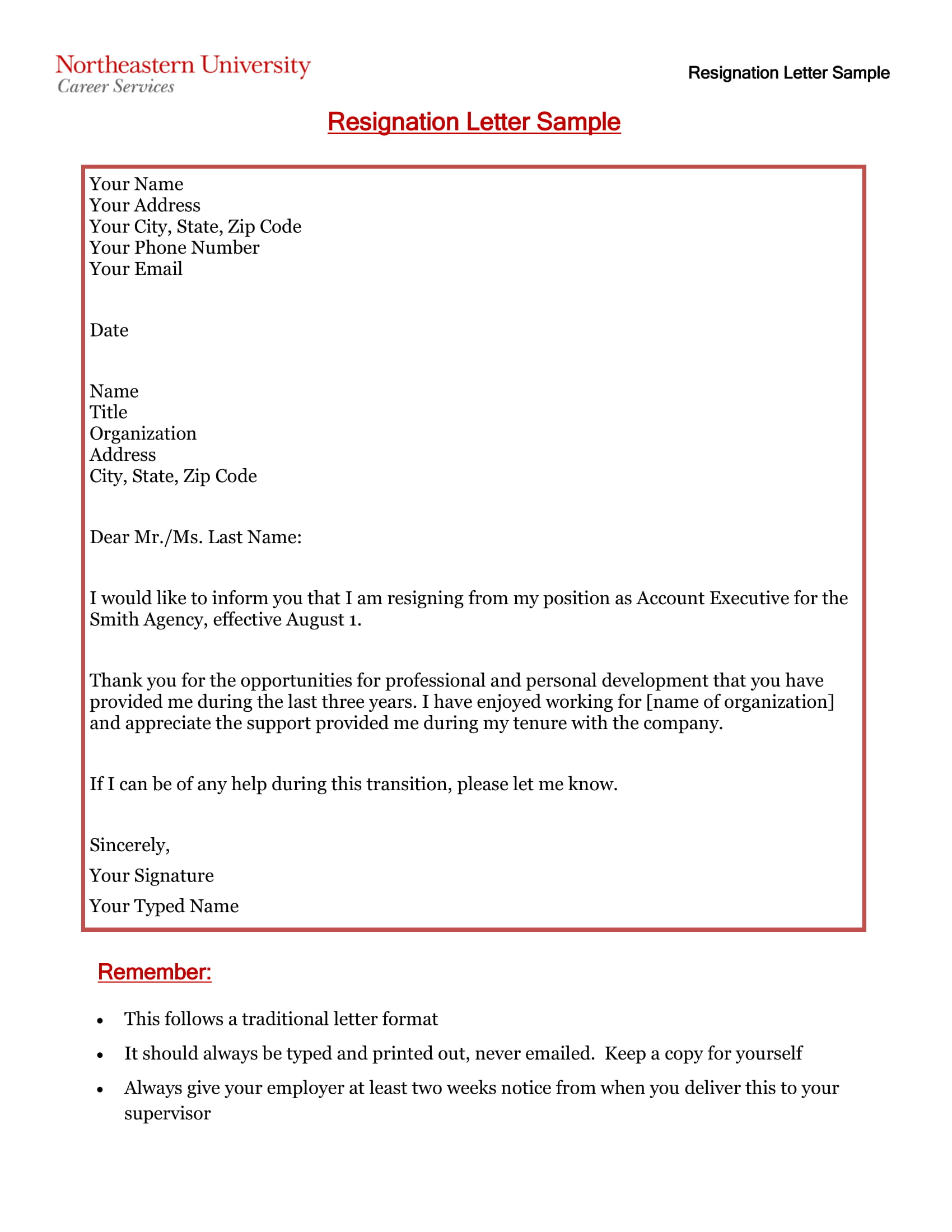 12+ Standard Resignation Letter Examples - PDF, Word | Examples