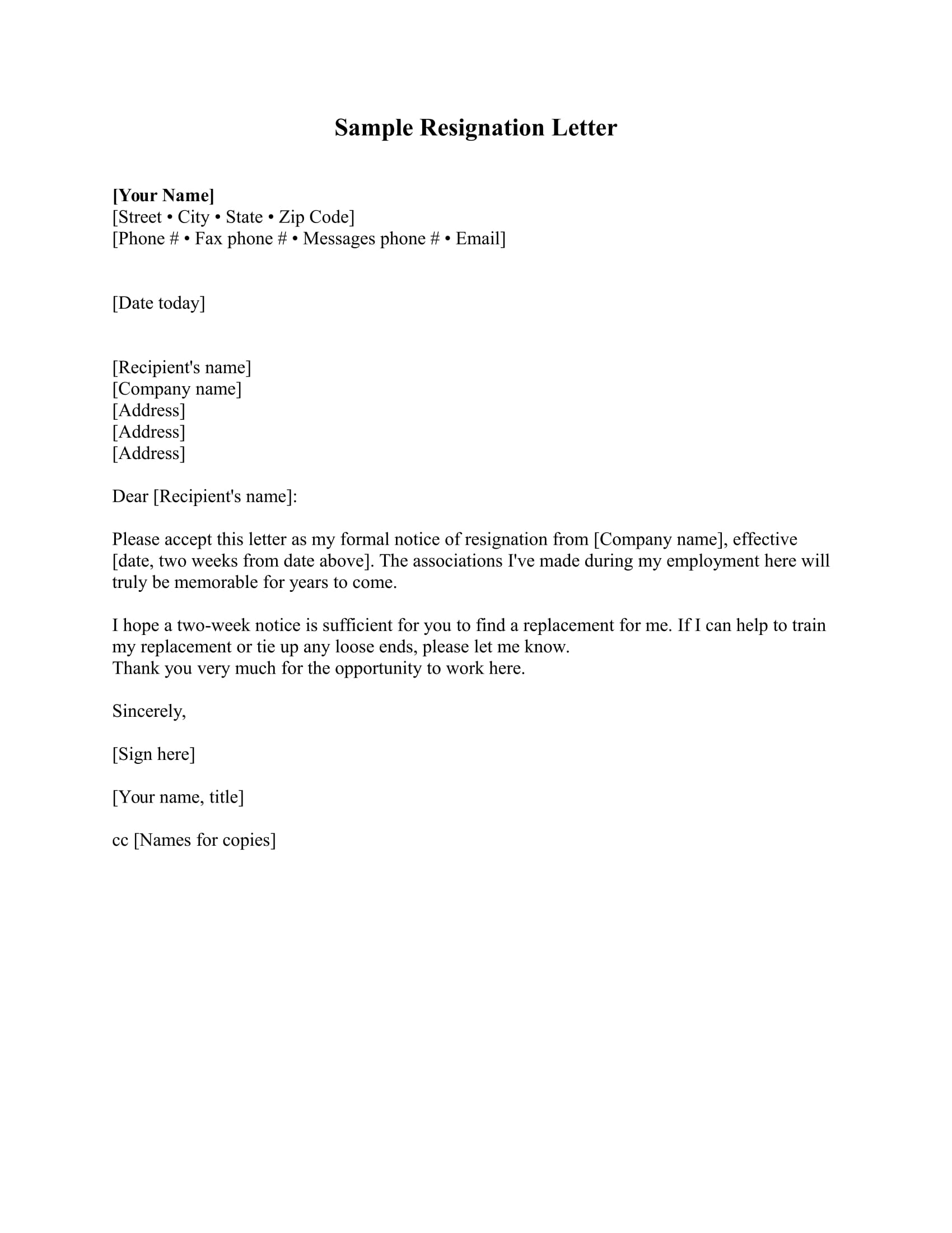 resignation letter template example