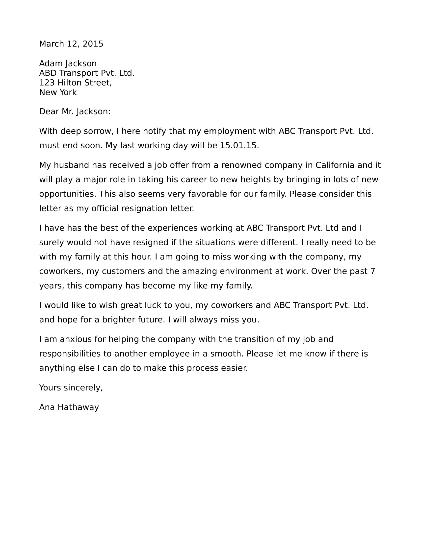 resignation letter due to relocation of spouse example