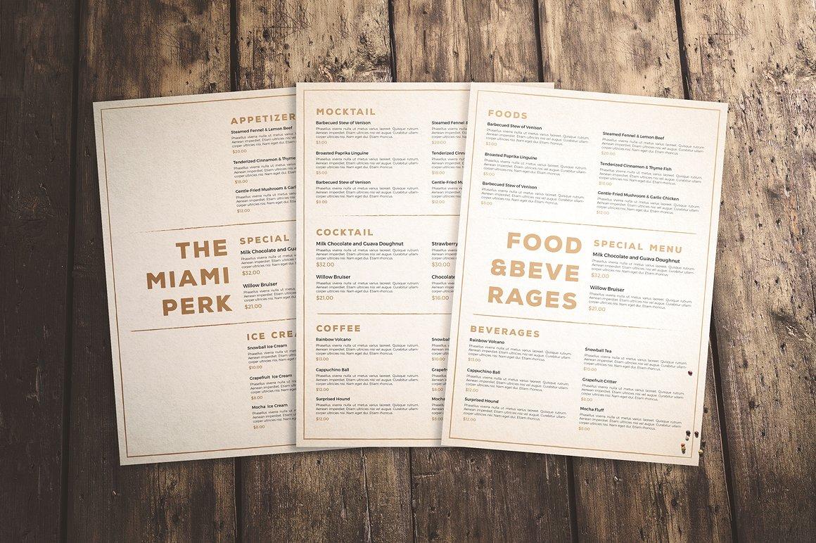 restaurant clean menu example