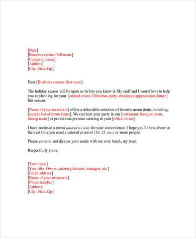 restaurant marketing letter
