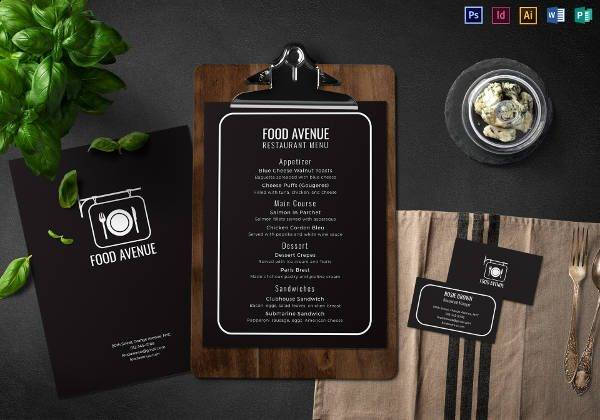 restaurant menu and business card template1